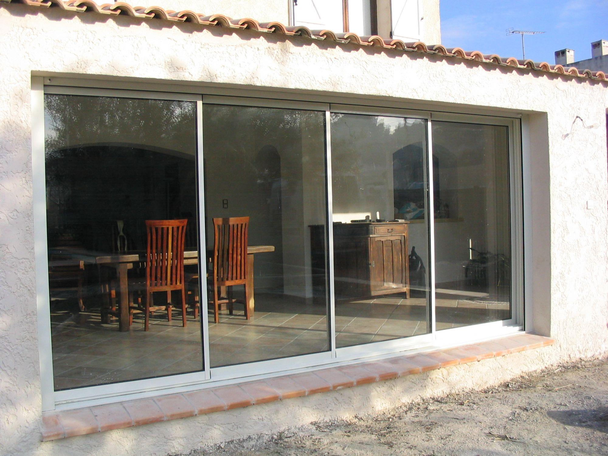 Fermeture d\'une extension de maison par une baie vitrée de ...